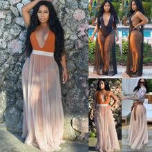 2019 Summer Women Lace Bikini Cover Ups Long Beach Dress Sarong Pareo Tunic dress Swimwear Bathing Suit Up