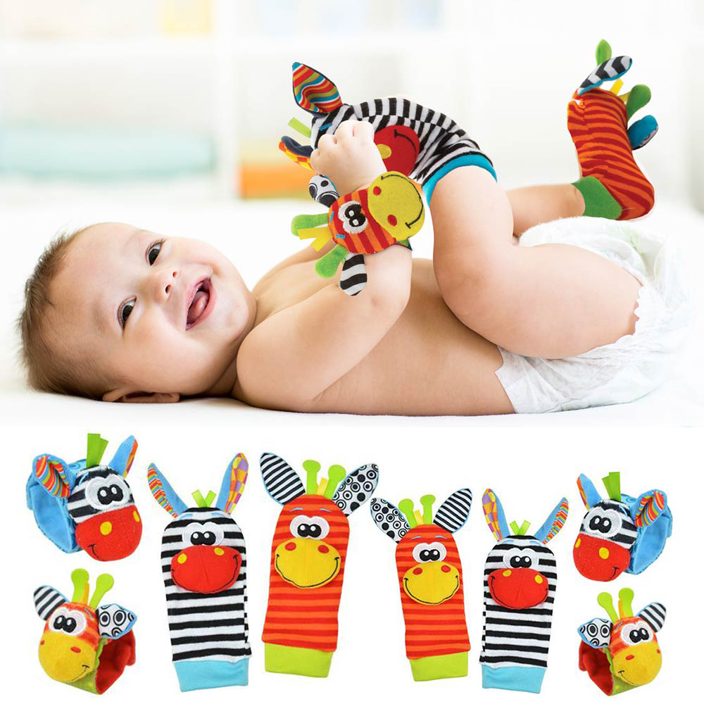 Soft Animal Infant Rattles Cartoon Wrist Strap Socks Baby Toys 0-12 Months Plush Rattles Foot Finder Sock Newborns Toys