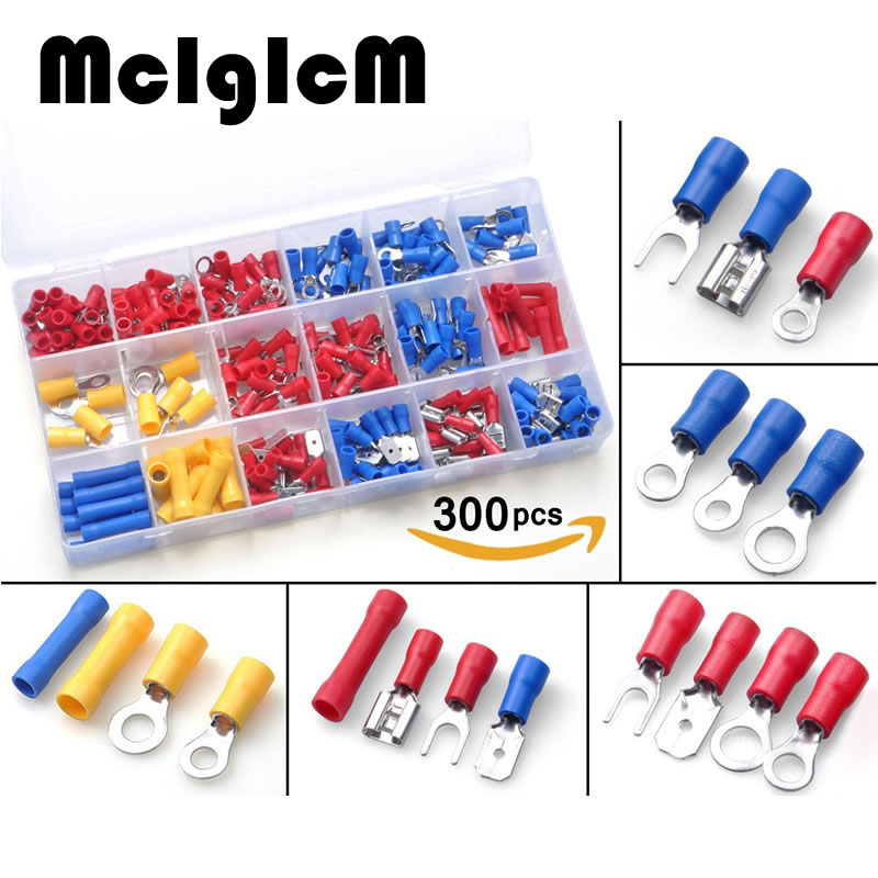 300pcs Electrical Terminals Sets , Insulated Terminator Wire Crimp Spade Butt Connectors Red Yellow Blue Assorted terminals Set 300pcs assorted insulated electrical wire terminals crimp connector spade set red yellow blue