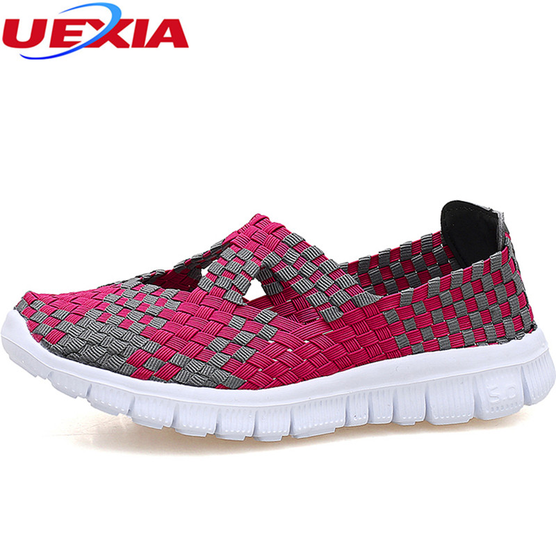 UEXI Women Woven Shoes Summer Breathable Handmade Flats Fashion Comfortable Casual Shoes Loafers Nylon Chaussure Femme Big Size women casual shoes 2018 summer cool breathable handmade female woven footwear fashion comfortable lightweight wovening sneakers