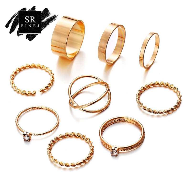 SR:FINEJ New Fashion Gold Color Knuckle Rings Set For Women Vintage Midi Finger Weave Ring Female Party Jewelry Gifts 9PcsSet