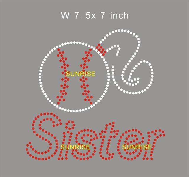 8d74cb7928 US $33.0 |Baseball Sister custom iron on transfers , free shipping, heat  transfer rhinestone motif, iron on strass motif-in Rhinestones from Home &  ...