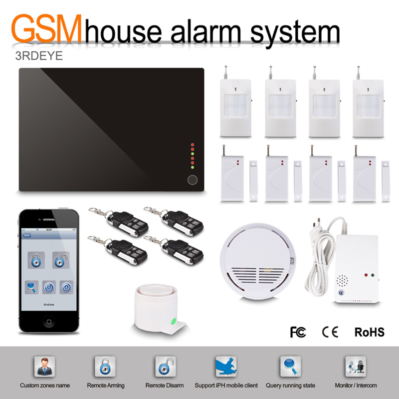 Wireless Intelligent Home Security Burglar GSM Alarm System Kits Warning Via SMS or Calling Support IOS&Android App kerui black white intelligent wireless gms sms call home burglar intruder ios android app security alarm system touch keypad