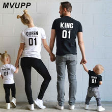King Queen Prince Printed mother and daughter clothes Family Matching Outfits Short sleeved T-shirt girls dresses Big Sister nmd(China)