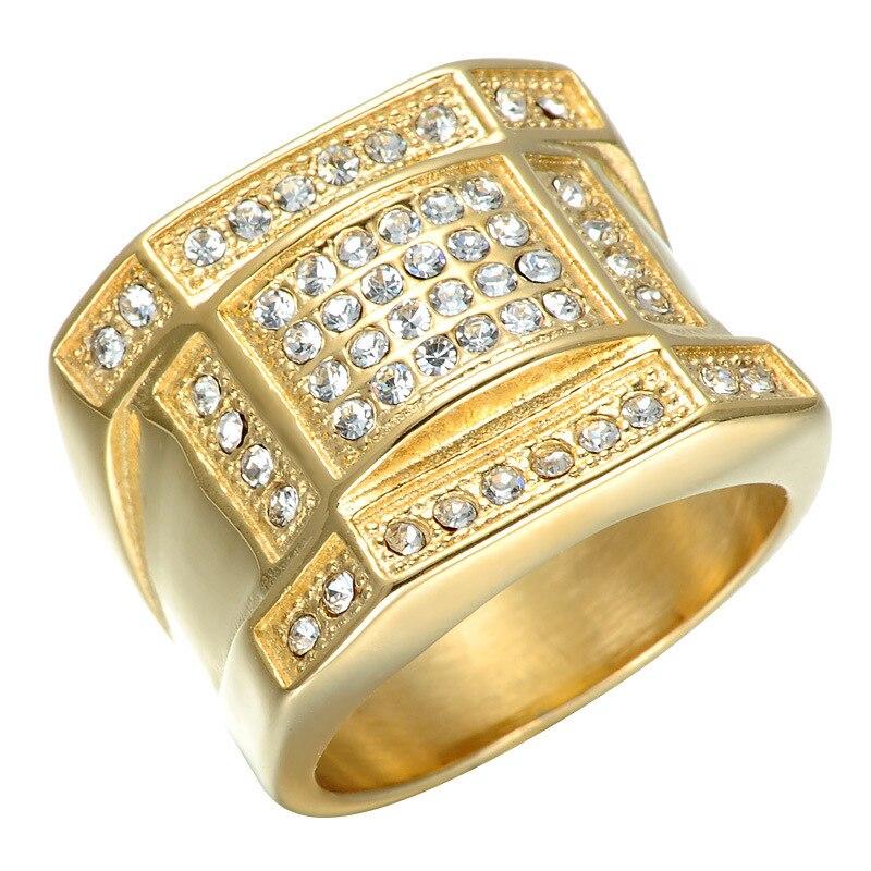 Хорошее качество ювелирные изделия Punk Квадратные IP позолота энергии кольца Titanium steeel полированный питания кольцо Новогодний подарок