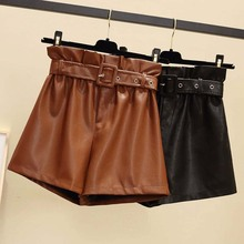 pu leather shorts women winter sexy for feminino elastic waist belt large plus size short 5xl