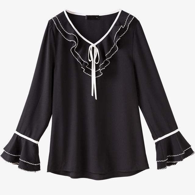 MUSENDA Plus Size Women Black Chiffon Ribbon Ruffles V-Neck Blouse 2017 Autumn Lady Fashion Casual Brief Shirt Office Street Top