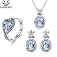 Doppel-R 0,03 ct Natürlicher Diamant Braut Hochzeit Schmuck-Sets Frauen 4,1 ct Echt Blauer Topas 925 Silber ohrring Anhänger weibliche