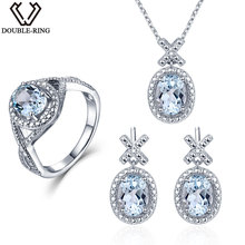 Double-R 0.03 ct Natural Diamond Bridal Wedding Jewelry Sets Women 4.1 ct Real Blue Topaz 925 Silver earring Ring Pendant Female
