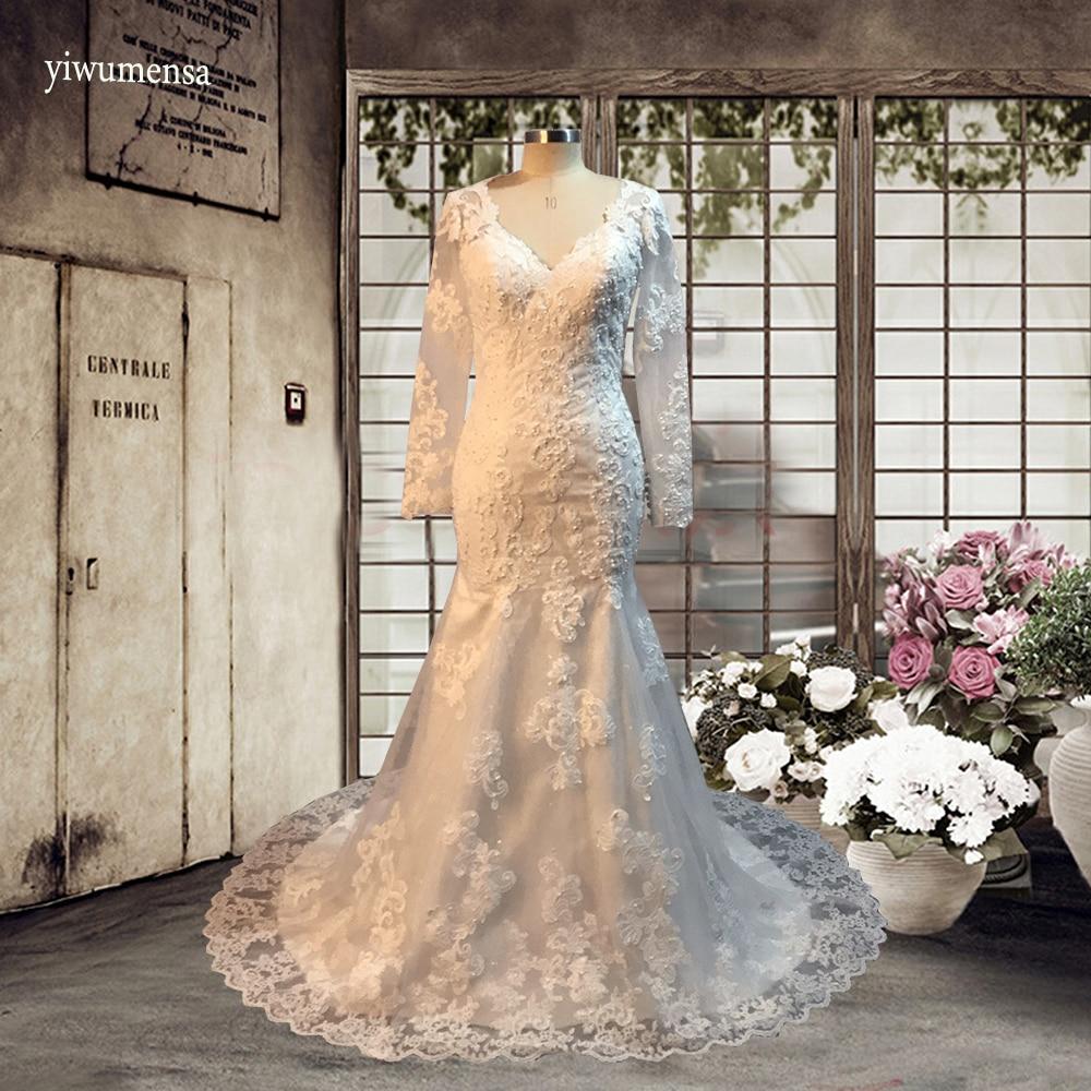 yiwumensa vestidos de noiva Mermaid long wedding dresses 2017 Appliques Lace bohemian wedding dress Long sleeves Bridal gowns