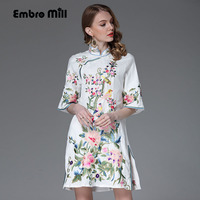 High End Floral Summer Women Chinese Style Dress Ladies Embroidery Dresses Plus Size Elegant Loose Lady