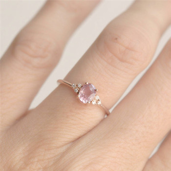 ROMAD Pink CZ Engagement Rings for Women Rose Gold Wedding Ring Dainty Valantine's Gift for Girl Friends Romantic Jewelry R4 2