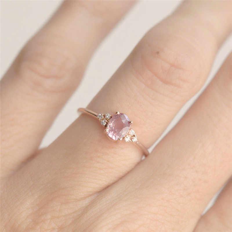 ROMAD Pink CZ anillos de compromiso para mujeres anillo de boda de oro rosa delicado regalo de Valantine para chicas amigas joyería romántica R4