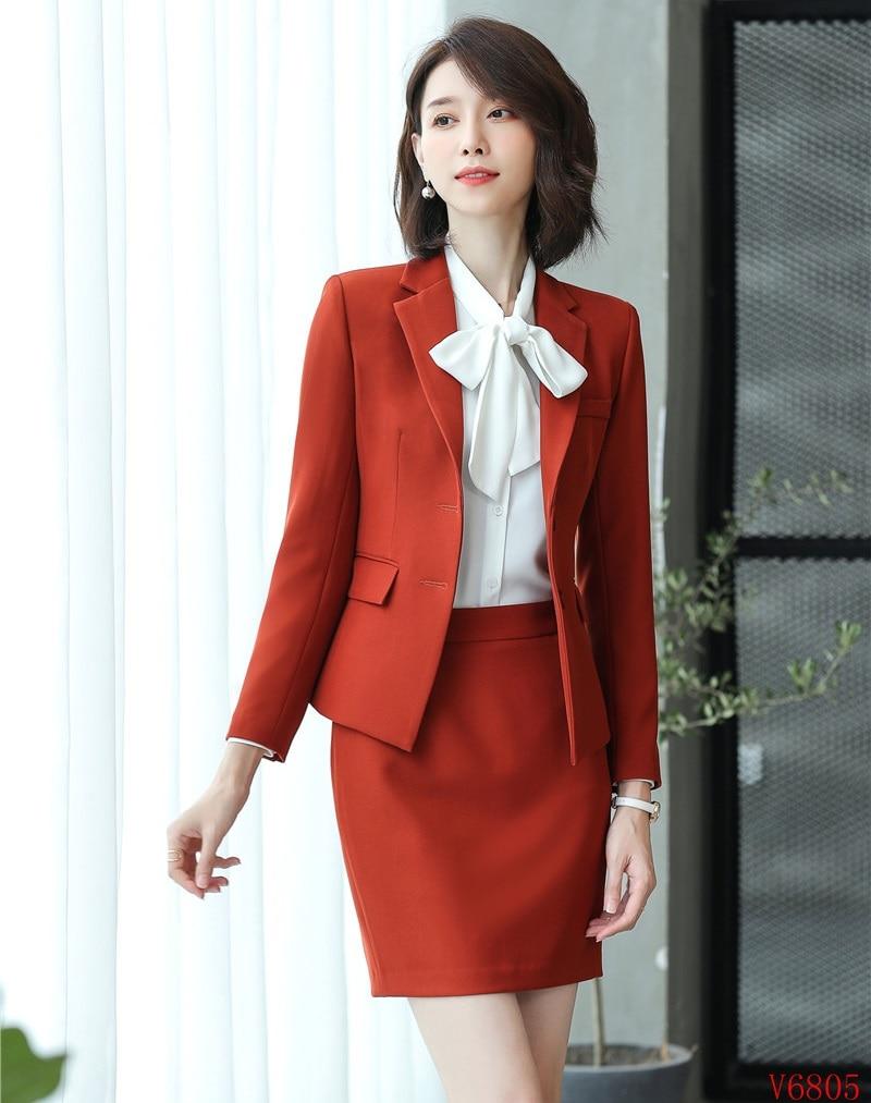 Conceptions rouge Uniforme Et D'affaires Jupe Formelle Dames Noir Ensembles Qualité Veste Haute Femmes blanc Styles Costumes Bureau Tissu Blazer f4RqxT6