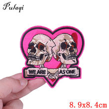 Pulaqi Embroidered Pink Skull Patch Iron On Patches For Jeans Clothes Garment Accessories DIY Sew On Badge F(China)