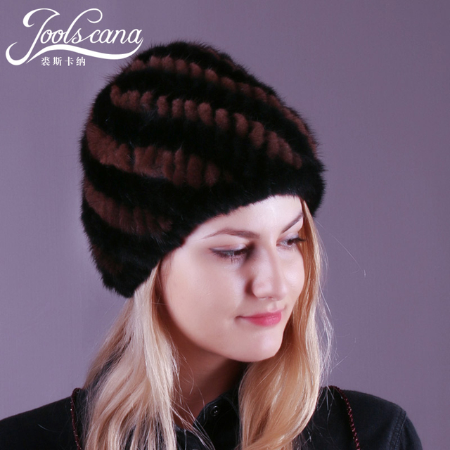 05485179be392 JOOLSCANA mink fur hats for women winter hat knitted real mink cap lined  warm women beanie