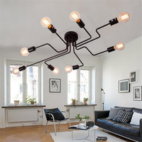 Multiple Rod Wrought Iron Ceiling Light 4/6/8 Heads Retro Industrial Loft Nordic Dome Lamp for Home Hotel Dinning Cafe Bar Decor