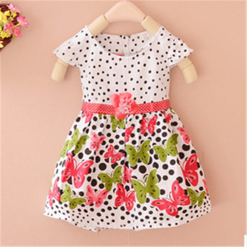 Baby Girls Kids Dresses Polka Dots Butterfly Princess One-piece Dress 4 Colors 5 Size light pink white polka dots one piece petti dress with white posh feather malp27