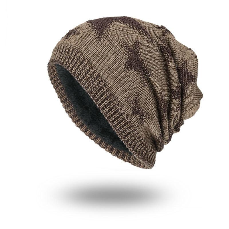 Fashion Casual Men   Skullies   &   Beanies   Hat Korean Version Of Knitted Wool Hat Winter Warm Five-Pointed Star Head Men Outdoor Cap