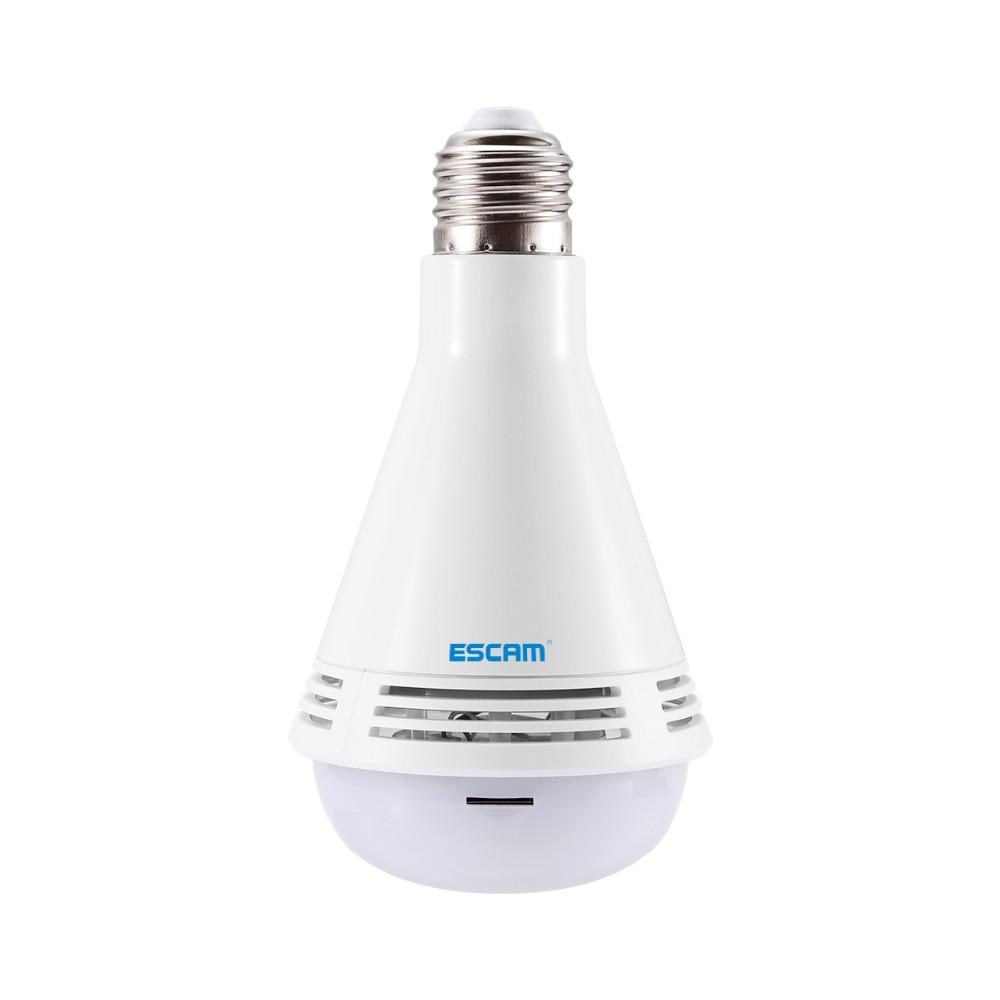 ESCAM QP137 1080 P WiFi ampoule lampe IP caméra 2.0MP HD panoramique Fisheye caméra de sécurité avec haut-parleur Bluetooth, blanc LED