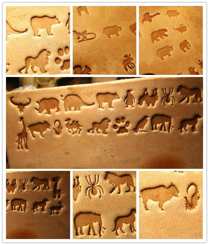 36pcs Mini Animal  Pattern Hand-work Unique Design  Carving Punches Stamp Craft Leather With Leather Carving Tools