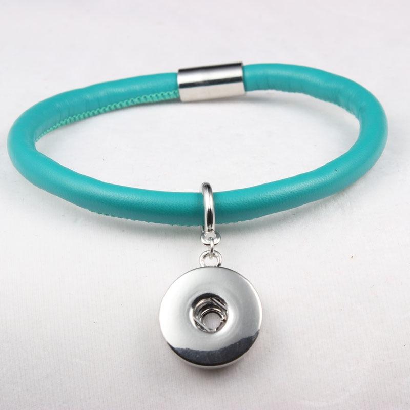 Blue Leather Winding Endless Bracelets Fit 18MM Snap Button Charms 10pcs/lot