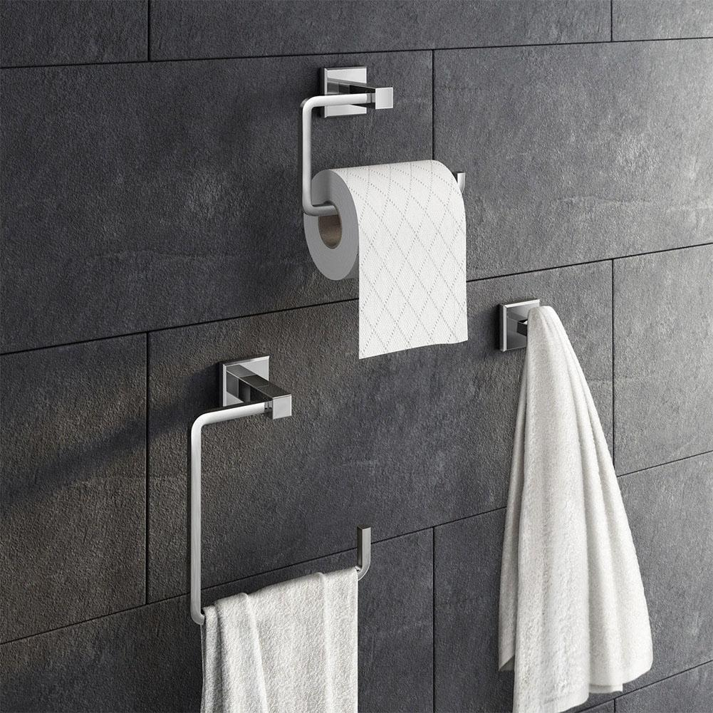 None Stainless Steel Bathroom Accessory Set Toilet Roll Holder Towel Rack Robe Hook Wall Mounted 3PCS/Set