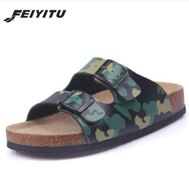Feiyitu New Summer Men Beach Cork Slippers Sandals Casual Double Buckle Clogs Sandalias Man Slip on Flip Flop Shoe Plus Size 45