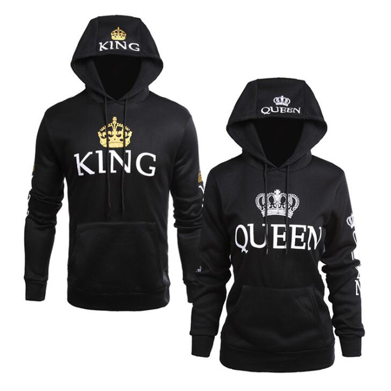 QUEEN KING Print Hooded Long Sleeve Couple Sweatshirt Casual Sexy Fashion Women Hoodies Full Letter Hoodie