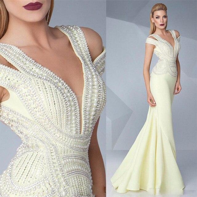 Luxury Mermaid Prom Dresses 2016 Sleeveless Pearls Beaded Prom Gowns ...