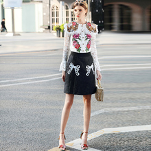Milan Catwalk New High Quality Runway  2018 Spring Summer Fashion Party Women'S skirt lace embroidery shirt Ladies Suits Set