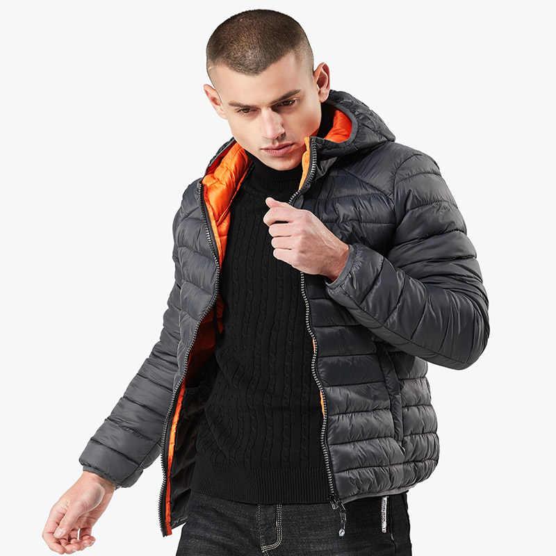 49New тонком простой Повседневное пальто с капюшоном 2018 зимняя Для мужчин s тонкие Утепленная одежда хлопок-одеть моды Для мужчин одежда уличная одежда куртки
