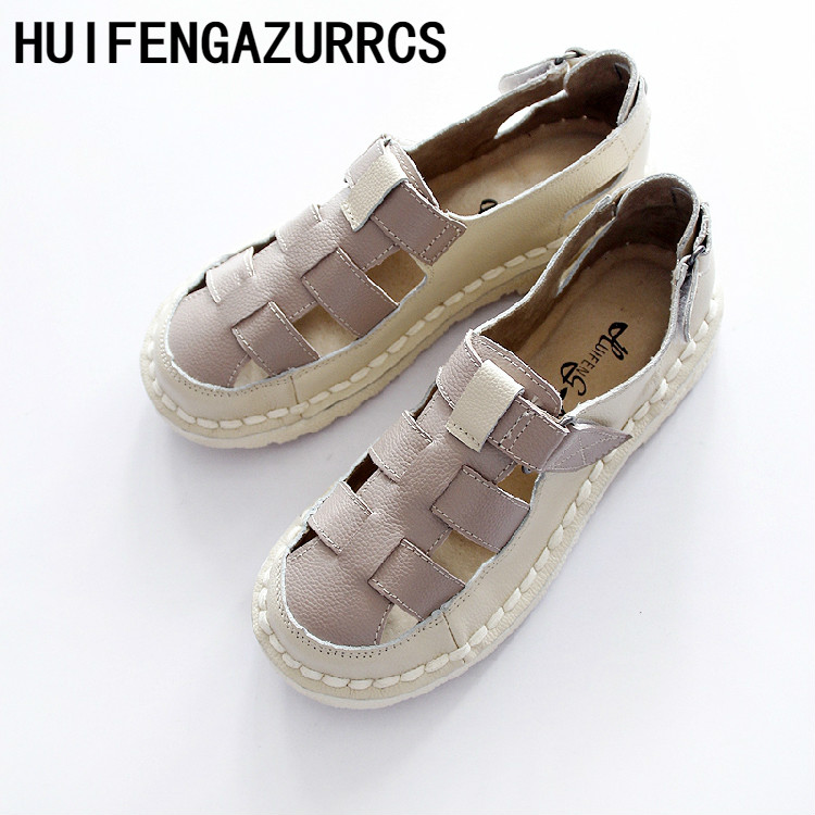 HUIFENGAZURRCS-Hot,New self made handmade cowhide, antique hollowed braided sandals,womens leather soft bottom college shoes