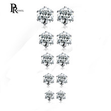 PJ Jewelry 5 Pairs Womens Stainless Steel Cubic Zirconia CZ Pave Crystal Stud Earrings(China)