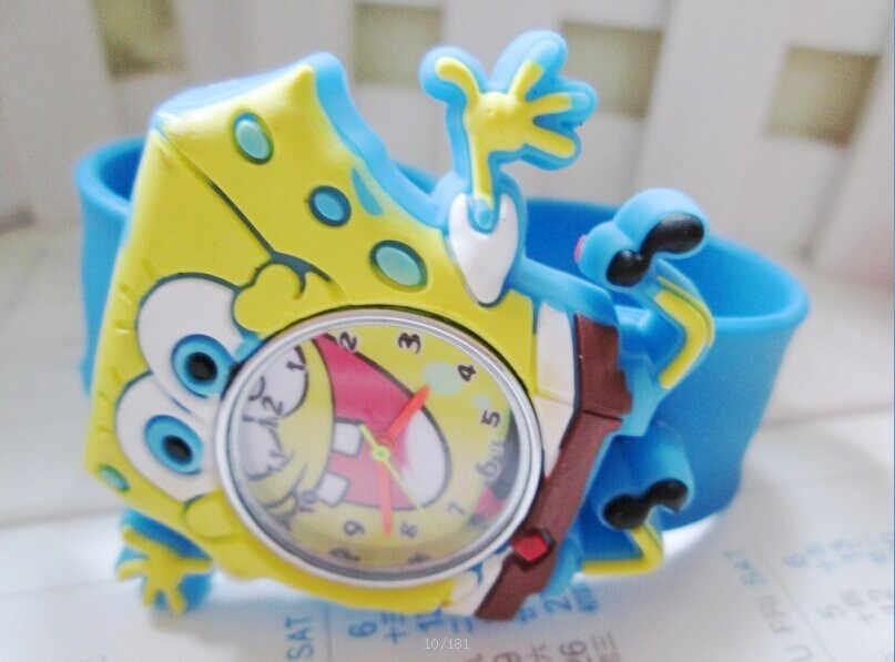 סיטונאי חדש אופנה סטירה שעונים בובספוג בני בנות מותג סיליקון למחוא שעון 1 יח'\חבילה
