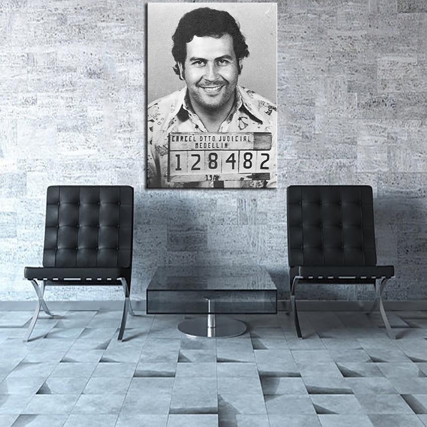 Large size Printing Oil Painting Pablo Escobar Mug Shot 1991 Vertical Wall painting Decor Wall Art