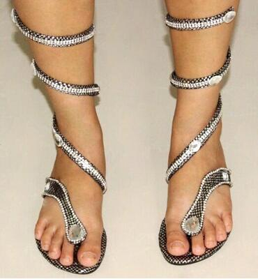 b6bc7eca35c823 LANSHITINA 2017 Sandals Fashion Rhinestone Sandals Silver Snake Flip Flops  Ankle Straps Gladiator Sandals Women Cystal Shoes-in Women s Sandals from  Shoes ...