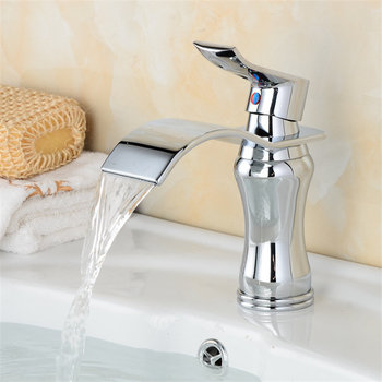 Bathroom Basin Faucet Brass Waterfall Sink Mixer Tap Single Handle Lavatory Deck Mounted Hot & Cold Water Crane Chrome/Gold 8
