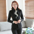 Formal Uniform Design Work Suits With Jackets And Pants Slim Fashion Autumn Winter Ladies Office Trousers Sets Blazers Black
