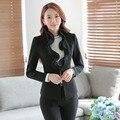Uniforme Formal de Trabalho de Design Ternos Com Coletes E Calças Conjuntos Calças Slim Moda Outono Inverno Ladies Escritório Blazers Preto