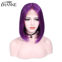 HANNE Hair Purple Color Lace Front Middle Part Bob Human Hair Wigs Short Brazilian Straight Human Wig for Black Women 14 Inches