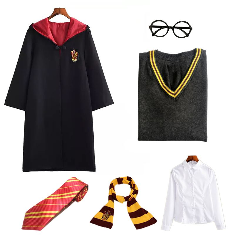 Magic Robe Cloak Cosplay Suit Gryffindor Sweater Hufflepuff Scarf Ravenclaw Slytherin College Uniforms Halloween Cos Costume