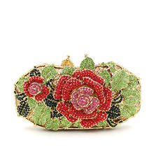 Rose flower Luxury crystal Diamond Clutch bags bling rhinestone evening bags Gold women evening clutch bags