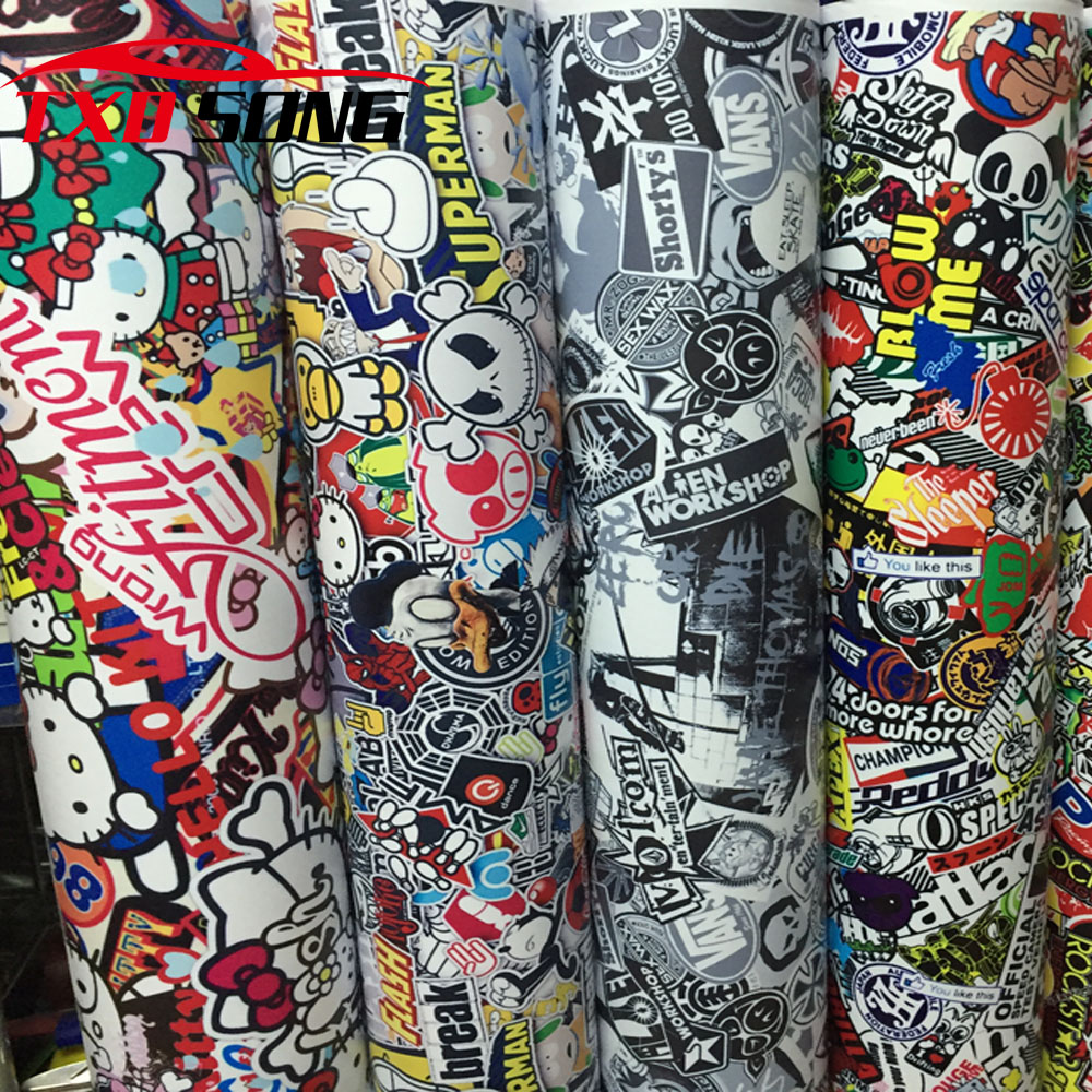 Premium Bomb Vinyl Sticker on Car DIY Graffiti Sticker Bomb Wrap Car Stickers Motorcycle Accessories full car decals Car Styling