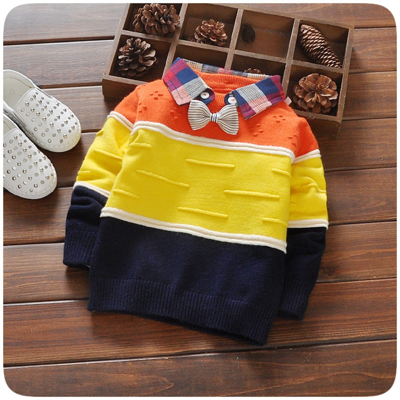 Autumn Baby Boys Long Sleeve Plaid Lapel Collar Bowtie Knitwear Sweaters Kids Pullovers roupas de bebe