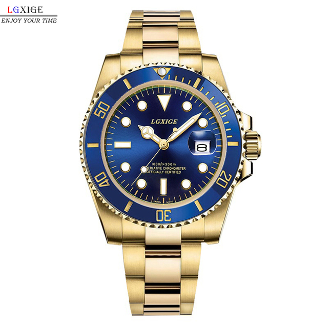 Gold Men Watch top brand luxury watch-men business Date full Stainless Steel wrist watch 2018 meskie diver relogio masculino