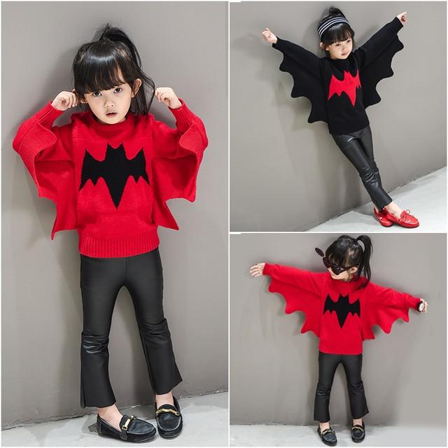 Baby Girl Boy Clothes Crewneck Warm Sweater Children Toddler Kids Bat Decoration Winter Autumn Pullover Knit Loose