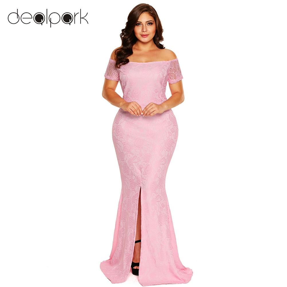 1dbed9ab2cb 2019 XXXL Maxi Long Dresses Women Plus Size Dress Off Shoulder Lace Dress  Short Sleeves Split