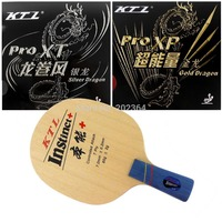 KTL instinct + Table Tennis Blade penhold short handle CS + Gold Dragon and Silver Dragon Rubber With Sponge for a Racket CS