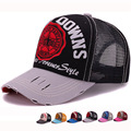 2017 New arrival adult trucker mesh cap with embroidery patch baseball cap with worn out brim sports net hat for men and women